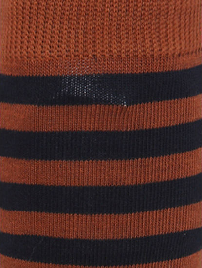 Brown Striped Mid Calf Length Socks