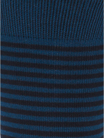 Dark Blue Striped Mid Calf Length Socks