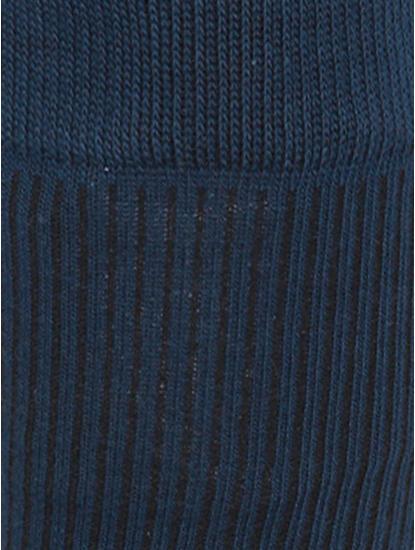 Blue Ribbed Mid Calf Length Socks