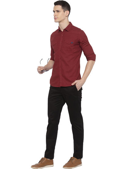 Red Solid Casual Shirt