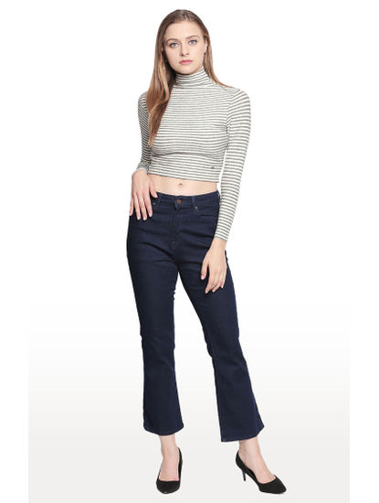 Raw Blue Solid Bootcut Ankle Length Fit Jeans