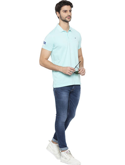 Aqua Solid Polo T-Shirt