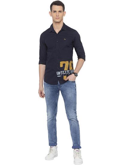 Navy Printed Casual Shirt