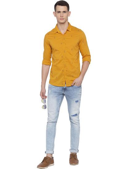 Mustard Printed Slim Fit Casual Shirt