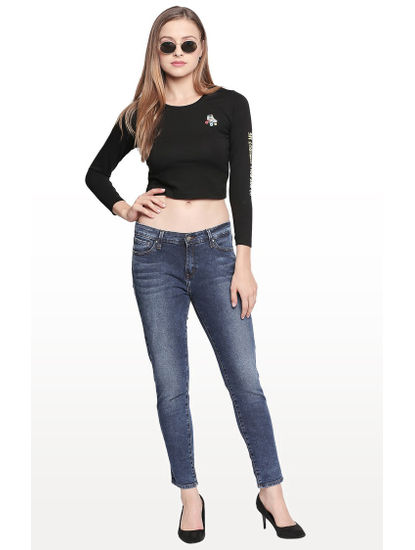 Mid Blue Solid Jeans