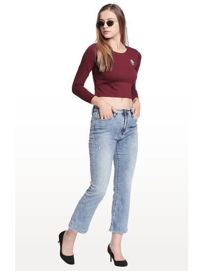 Light Blue Solid Flared Jeans