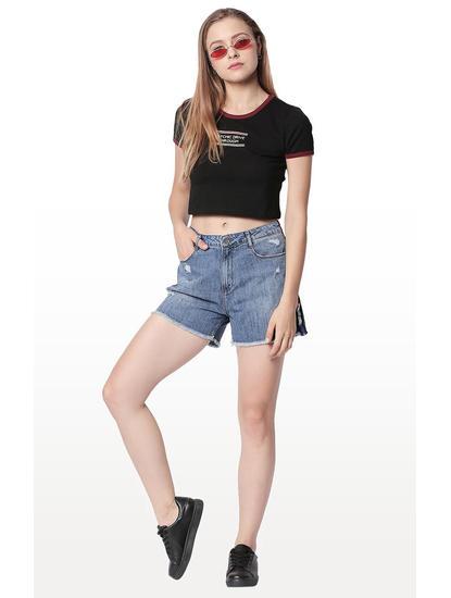Light Blue Ripped Regular Fit Shorts