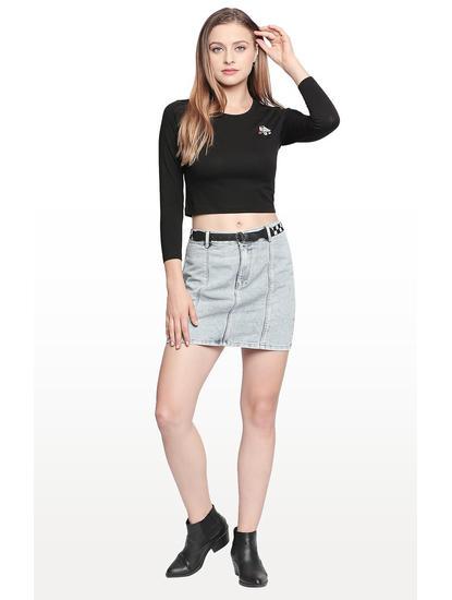 Light Blue Solid Regular Fit Skirt