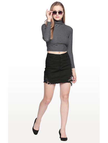 Black Ripped Regular Fit Skirt