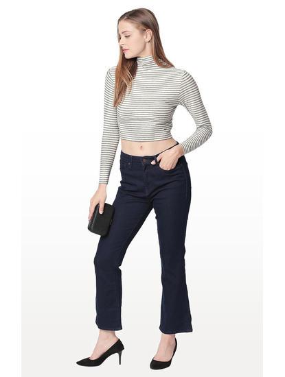 Ecru Striped Regular Fit Crop Top
