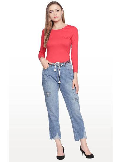 Mid Blue Ripped Cropped Regular Fit Jeans