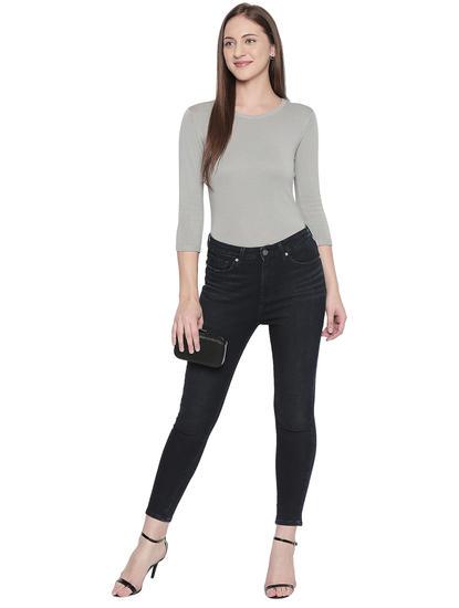 Blue Solid Slim Fit Jeans