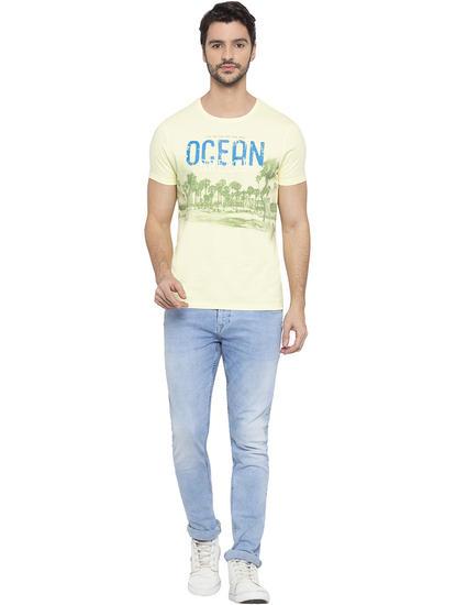 Lime Printed Slim Fit T-Shirts