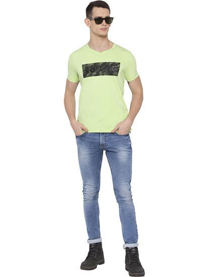 Neon Green Printed Slim Fit T-Shirts