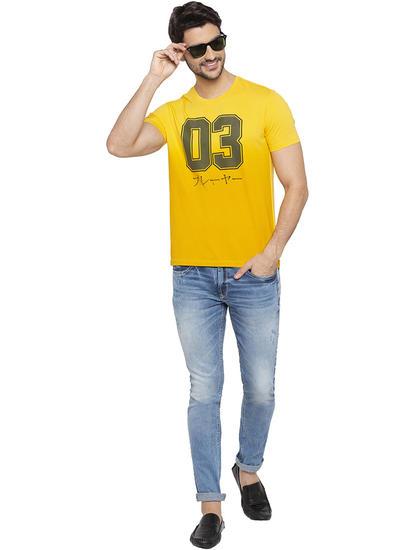 Yellow Printed Slim Fit T-Shirts