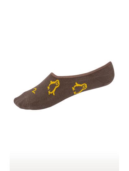 Olive and Beige Printed Socks - Pack of 2