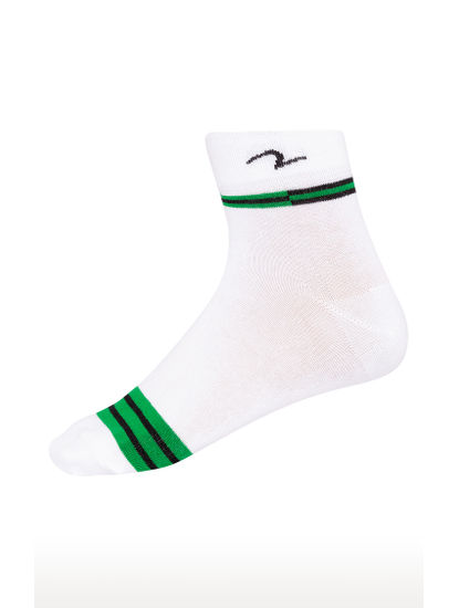 Grey & Green Striped Ankle length Socks