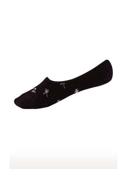 White & Black Printed Shoe Liners ped socks