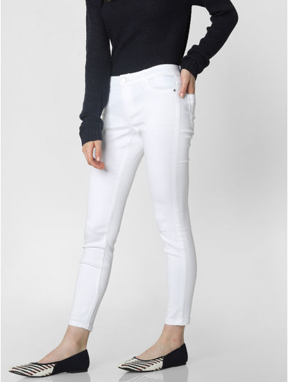 White Mid Rise Skinny Fit Jeggings