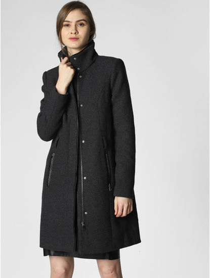 Dark Grey High Neck Coat