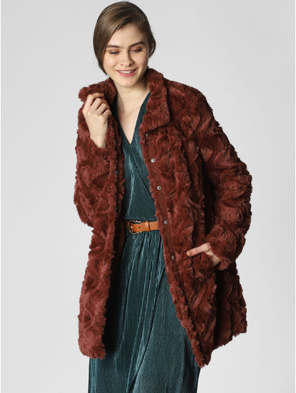 Dark Brown Faux Fur Coat