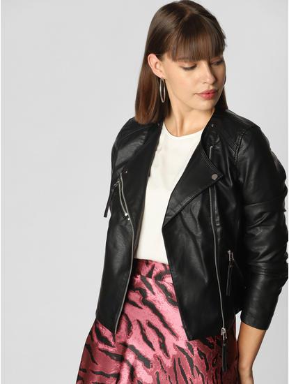 Black Faux Leather Short Jacket