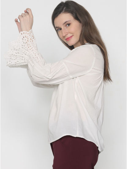 White Cut Work Sleeves Top