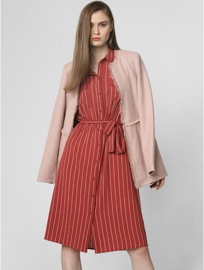 Rust Striped Shirt Dress