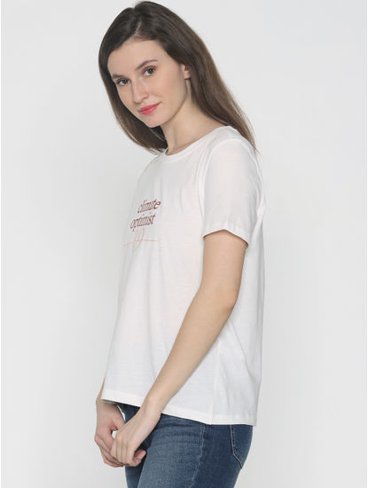 White Text Print T-Shirt