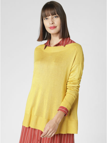 Yellow Boat Neck Pullover
