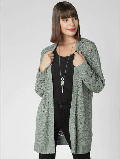Green Open Long Cardigan