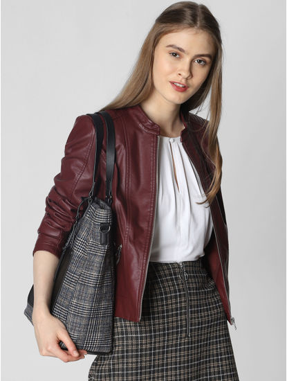 Burgundy Faux Leather Short Jacket