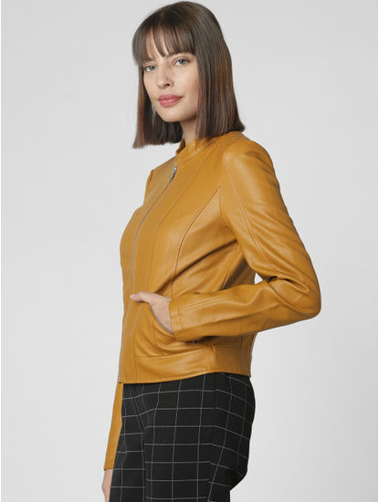 Mustard Faux Leather Short Jacket
