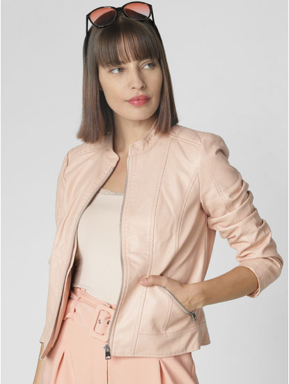 Beige Faux Leather Short Jacket