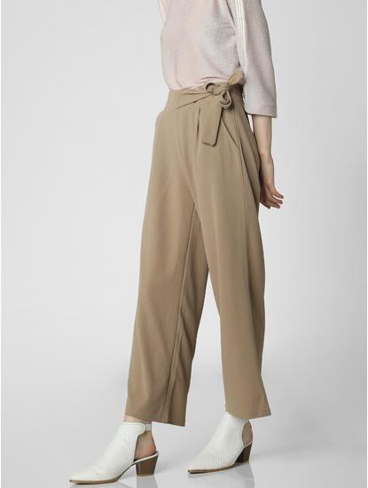 Beige Mid Rise Tie Waist Cropped Pants