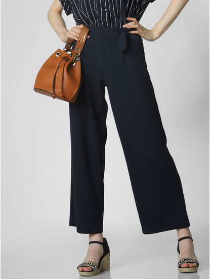 Dark Blue Mid Rise Pants