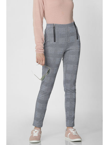 Dark Blue High Waist Zip Detail Leggings
