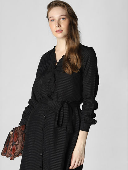 Black Belted Fit & Flare Dress