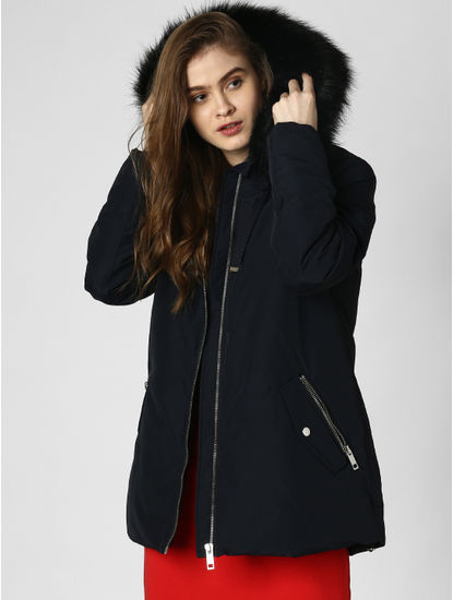 Navy Blue Fur Hood Parka Coat