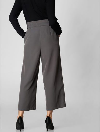 Grey Paper Bag Waist Culottes
