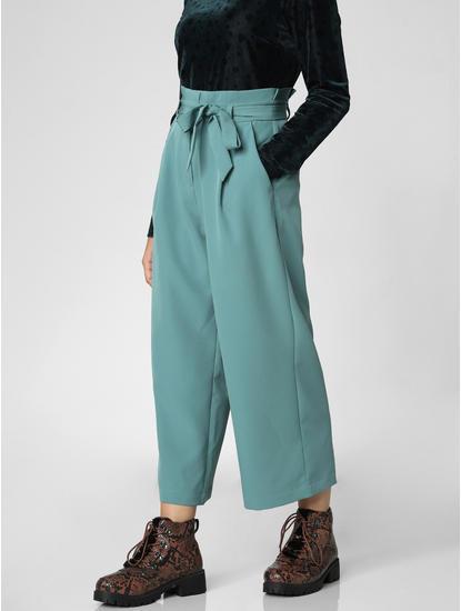 Sea Green Paper Bag Waist Culottes