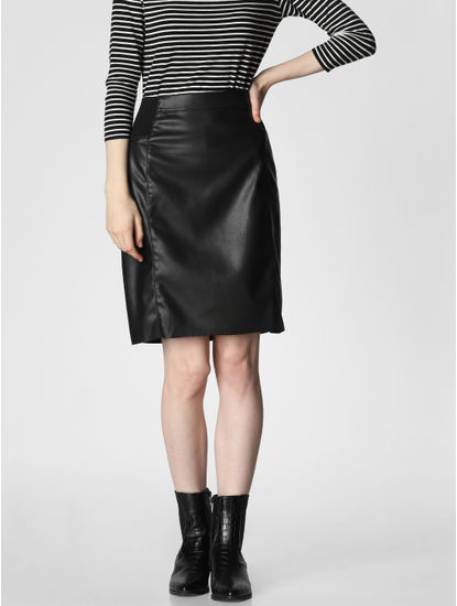 Black Mid Rise Pencil Skirt