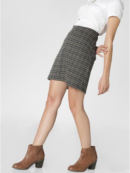 Black Front Zip Check Mini Skirt