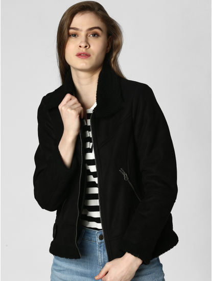 Black High Neck Shearling Jacket