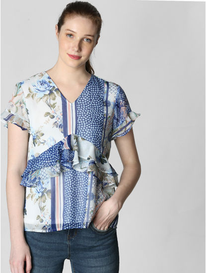 White All Over Print Flounce Top