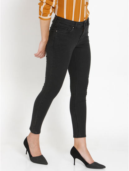 Dark Grey Mid Rise Faded Skinny Fit Jeans