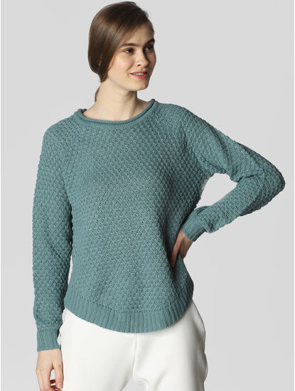 Blue Textured Pullover