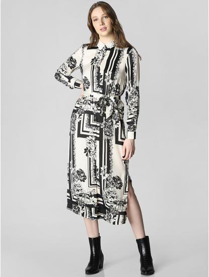 White Monochrome Print Shirt Dress