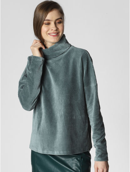 Blue Corduroy High Neck Top