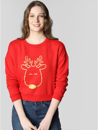 Red Reindeer Graphic Print Sweatshirt